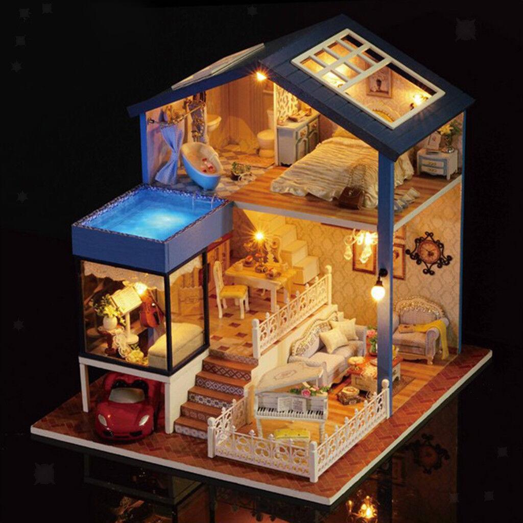 1 24 Casa delle bambole in miniatura in legno fai-da-te - Moderna