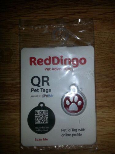 QR Pet ID Tag ~ RedDingo ~ Small Paw Print ~ RED ~ Retail $19.95