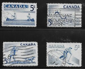 Canada-Scott-365-68-Singles-1957-Complete-Set-FVF-Used