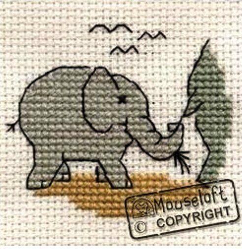 Stitchlets Collection Baby Elephant Mouseloft Mini Cross Stitch Kit