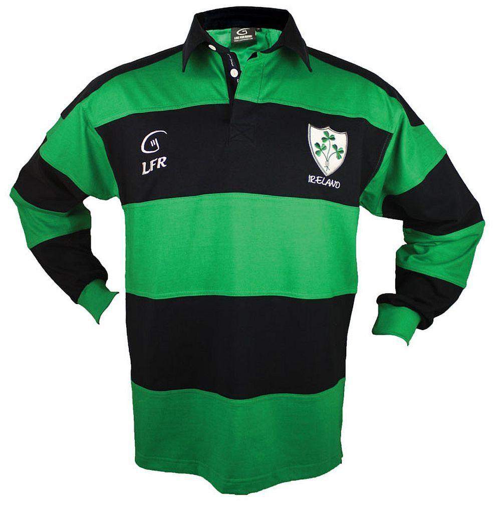 Irland Kleeblatt Langarm Rugby Shirt - Live Live Live for Rugby - Hemd Größe XS-3XL | Vollständige Spezifikation  00fe21