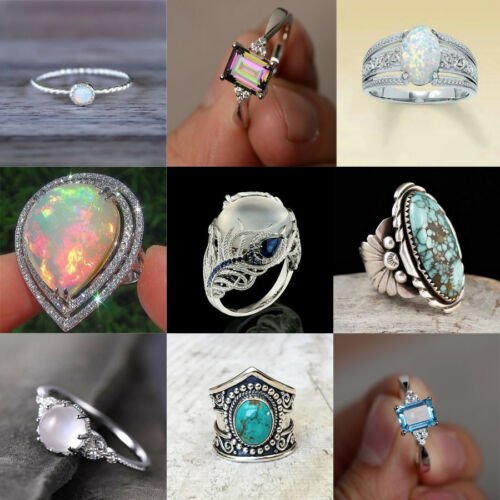 Charming White Fire Opal 925 Silver Ring Women Wedding Propose Jewelry Size 6-10