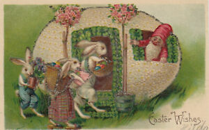 Dressed-Rabbit-Family-amp-Giant-Egg-with-Elf-Antique-Easter-Postcard-s-106