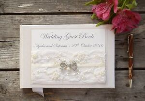 Image Is Loading Personalised Wedding Guest Book Luxury Ivory Lace Amp