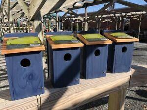 Box of 4; Bluebird House w/ Shingles; Birdhouse FREE SHIPPING Blue Bird House