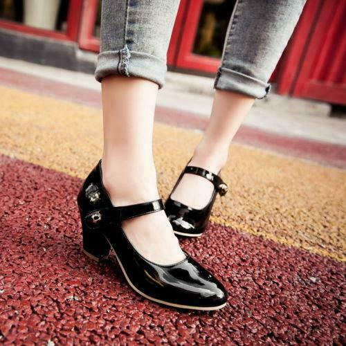 Details about  /Women/'s Mary Jane Block heel Ankle Strap Date Prom Work party pumps Shoes
