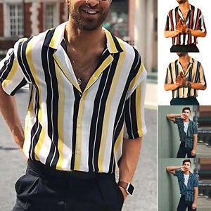 Mens-Summer-Striped-Button-Down-Dress-Shirts-Slim-Casual-Short-Sleeve-Blouse-Top
