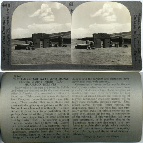 BOLIVIA From 600//1200 Card Set Keystone Stereoview Monolithic Ruins Tiahuanaco