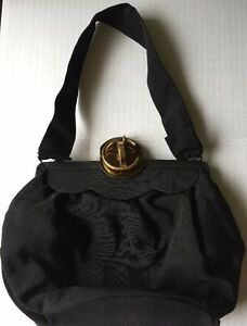 Vintage-Black-Taffeta-Satin-Evening-Bag-Handbag-Purse-Styled-by-Gamma-Christmas