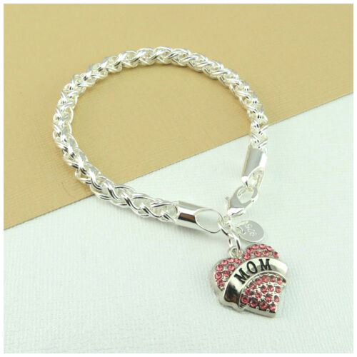 XMAS BIRTHDAY Gift JEWELLERY B51 925 SILVER Plated Bracelet For MOM Pink