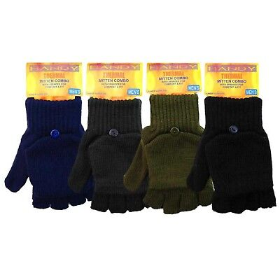 Mens Adult Thermal Fingerless Gloves 2 in1 Half Mitten Shooting Fishing Combie