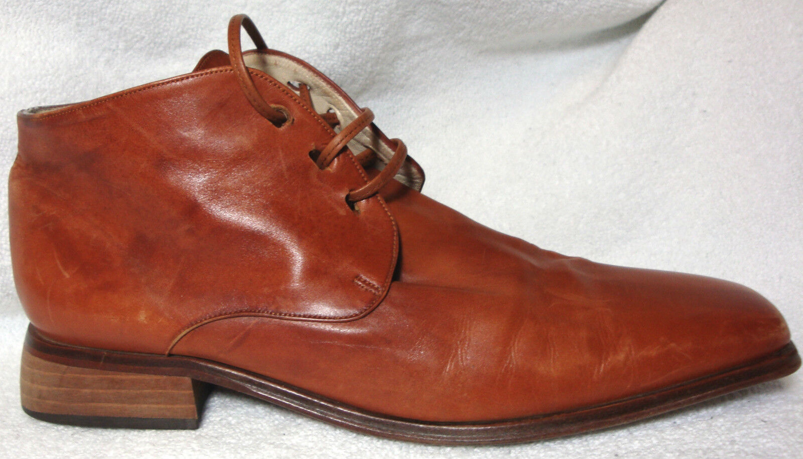 U3 U3 U3 Solid Brown Leather Lace-Up Ankle Boots Booties Low Heel - 39 M 3206b0