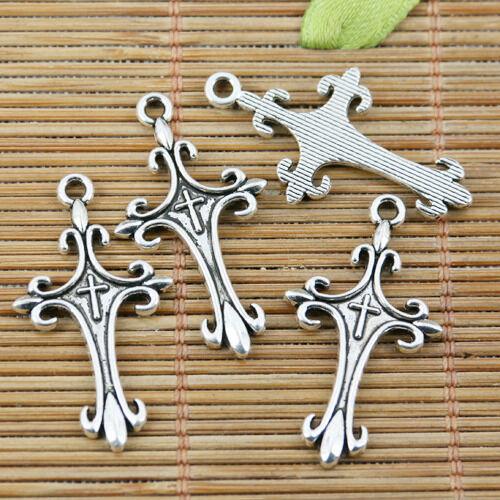 100pcs tibetan silver color floral cross design charms EF2293