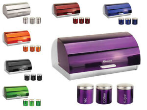 Bread-Bin-amp-Canisters-Matching-Kitchen-Set-Roll-Top-Tea-Coffee-Sugar-12-Colors