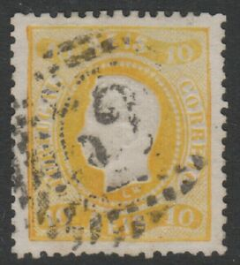 Portugal-1867-10r-Yellow-Used-SG-54