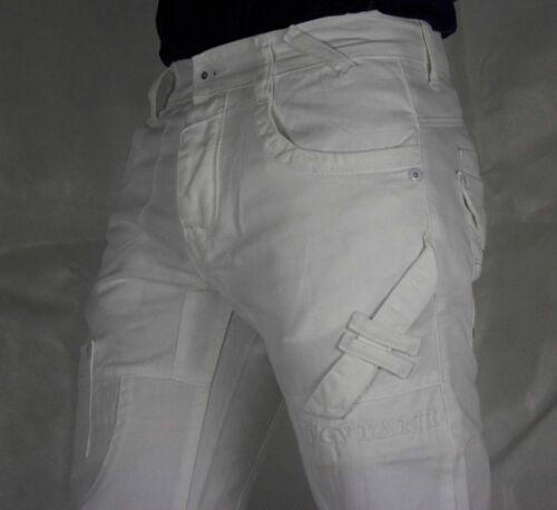Combat G denim pantalon Jean Homme Peviani coupe droite Urban Hip Hop Star Blanc