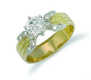 Amarillo-Oro-1-Quilate-Anillo-Solitario-Mujer-Anillo-De-Compromiso-Sellado