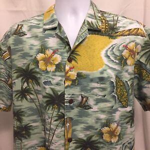Royal-Creations-Mens-Hawaiian-Shirt-Large-Floral-Surfboard-Made-In-USA-Aloha