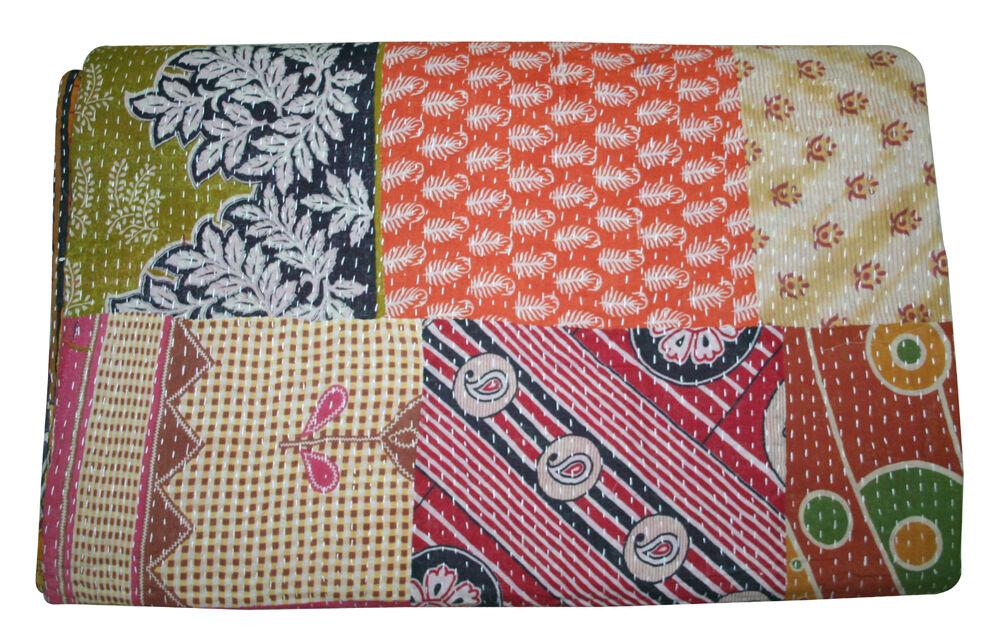 Indian Handmade Quilt Vintage Kantha Bedspread Throw Cotton Blanket.Gudari  King