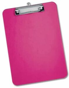 Pink Clipboard A4 Neon Colour Office Document Storage Paper Holder 9 x 12 inch