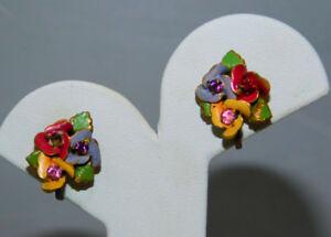 Vtg-Austrian-Pastel-Enamel-Flower-Rhinestone-Gold-Screw-back-Earrings-4a-99