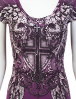 Archaic Affliction Sinful Cross Skulls Wings Biker Ufc Bke T-shirt Womens L