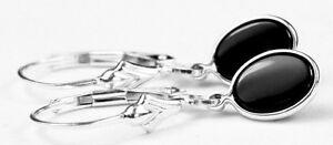 Black-Onyx-925-Sterling-Silver-Leverback-drop-dangle-Earrings-SE001