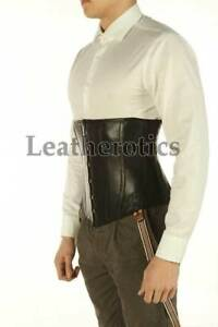 Black-Underbust-Leather-Corset-For-Men-Tight-Lacing-Steel-Boned-Back-support