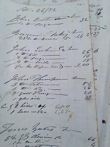 Vntg-Ledger-Paper-Historical-Maine-Ship-Builder-1852-Unique-Lt-Blue-Paper