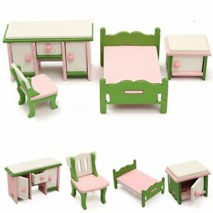 4Pcs-Dollhouse-Miniature-Decor-Wooden-Bedroom-Furniture-Set-Kids-Play-Gift