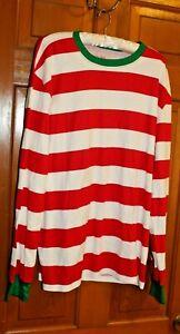 Adult-Men-039-s-Long-Sleeve-Punk-Mime-Halloween-ELF-WALDO-Costume-Striped-Shirt-L