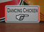 Dancing Chicken with arrow Metal Sign