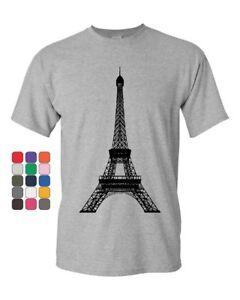 f37c4a1950bbb Eiffel Tower T-Shirt Paris France Sightseeing Travel Europe Mens Tee ...