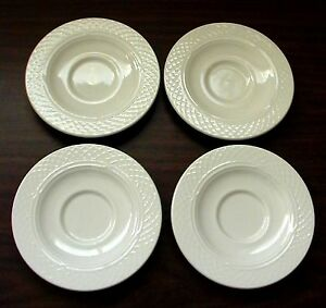 4-NEW-VINTAGE-HOMER-LAUGHLIN-USA-CHINA-IVORY-GOTHIC-CHURCH-WINDOW-CANDLE-SAUCERS