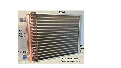 """12x6  Water to Air Heat Exchanger 1"""" Copper Ports w/ EZ Install Front Flange"""