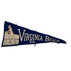 Vintage-Virginia-Beach-VA-Felt-Pennant-11-Blue-Well-Worn-No-Tassels