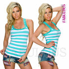 Sexy Women's Striped Singlet Top Lace Trim Casual Party Everyday Size 10 12 M L