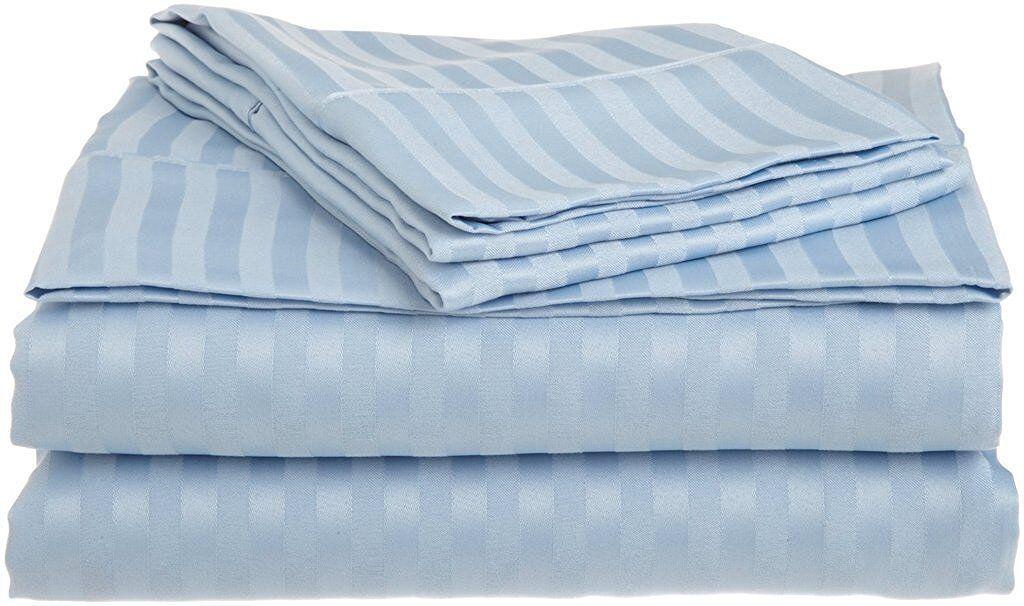Egyptian Cotton Bedding Collection Lightbluee Stripe15 Inch Deep 400 Thread Count