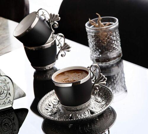 Black Cups Turkish Greek Arabic Coffee Espresso Demitasse Cup Saucer Spoon Set