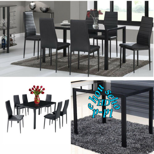 6 High Back Faux Leather Dinner Chairs w 1 Glass Dining Table Blk Furniture Set