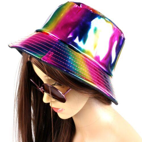 RAINBOW BUCKET HAT Holo Shiny Festival Student Party Rave Club Fancy Dress Adult