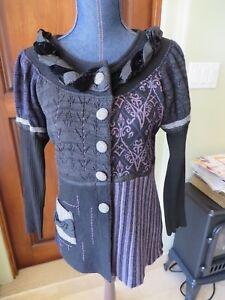 Artsy blue cotton cardigan with wool decoration size XL.