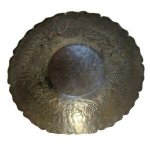 Vintage-Everlast-Metal-Hand-Forged-Aluminum-Serving-Bowl-Fruit-Design-11-5-x-3in