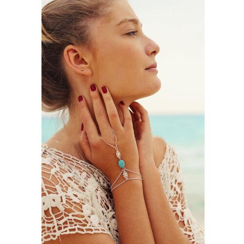 Main Bracelet charme avec anneau argent pierre bleue mariée bohème bijoux
