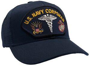 63692f64435997 sale image is loading us navy corpsman hat dark blue trucker ball 131c1  da13d