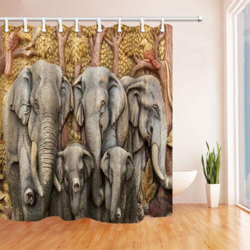 "Elephant Family Animal DECOR salle de bains Rideau de Douche Imperméable /& 12 crochets 71/"""