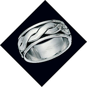 Wedding Ring Mens Sterling Silver wedding Band Rotating spinner