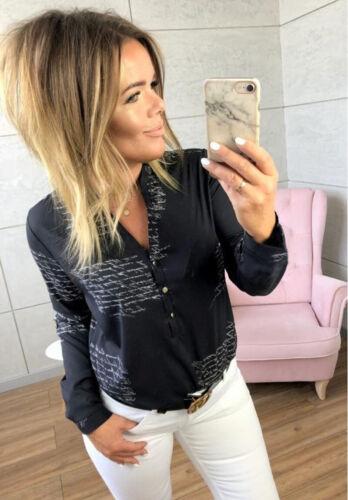 DE Damen Printed Langarmshirt Bluse Hemdbluse Shirt Freizeit Hemd Oberteile Tops