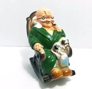 Fine Details About Vintage Ceramic Old Man In Rocker Chair With Dog Retirement Fund Coin Bank Frankydiablos Diy Chair Ideas Frankydiabloscom