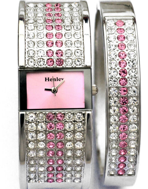 Henley Ladies Sparkling Genuine Czech Pink Crystal Watch & Bangle Gift Set